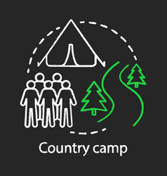 Country tent camp chalk concept icon summer vector