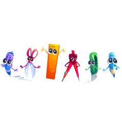 cute characters school stationery for children vector image