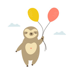 Cute sloth with balloons flying in a sky vector