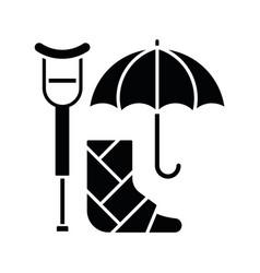 Disability insurance black glyph icon vector