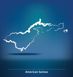 Doodle map of american samoa vector