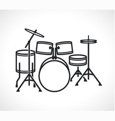 drum set icon isolated vector image