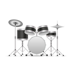 drum set musical instrument isolated on white 3d vector image