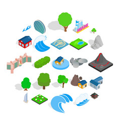 Earth landscape icons set isometric style vector
