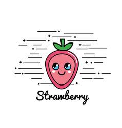 Emblem kawaii happy strawberry icon vector