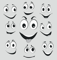 facial expressions cartoon face emotions vector image