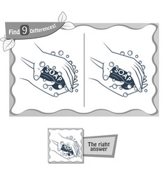 Find 9 differences game soap vector