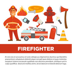 Firefighter profession and fire secure protection vector