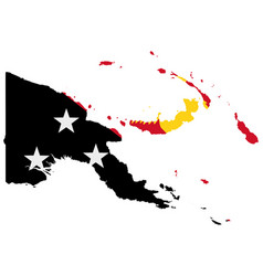 flag in map papua new guinea vector image