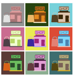 Flat icons set shop package vector
