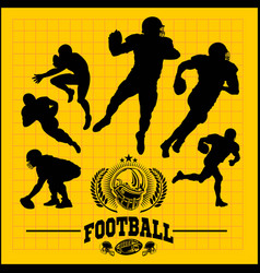 Football players in silhouettes vector