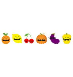 fruit berry vegetable mustache face icon set line vector image