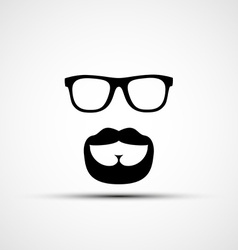 glasses and a mustache with a beard isola vector image