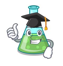 Graduation science beaker character cartoon vector