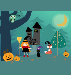 halloween season and cute happy witch vector image