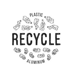 hand drawn of recyclable materials vector image vector image
