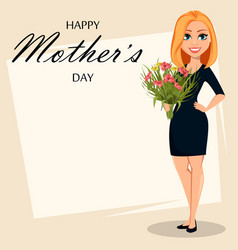 happy attractive woman with a bouquet of flowers vector image
