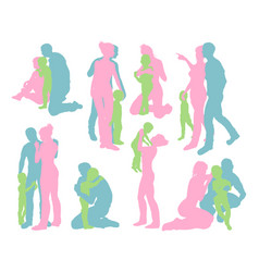 happy family detailed silhouettes vector image