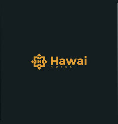 Hawaii hotel logo design template vector