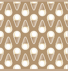 ice cream choco cone beige white seamless pattern vector image