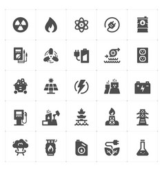 icon set - energy and power filled icon style vector image