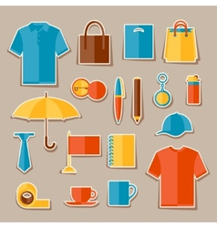 Icon set promotional gifts and souvenirs vector
