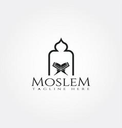 Islamic logo templatemosque and quran icon vector