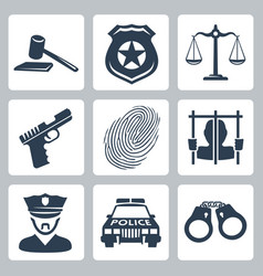 Isolated criminalpolice icons set vector