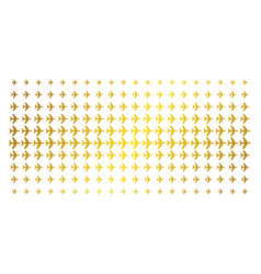 Jet plane golden halftone grid vector