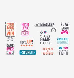 Joystick quotes retro gamepad banners vector