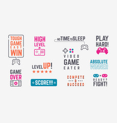 Joystick quotes retro gamepad banners with vector