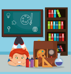 Little schoolboy with education supplies vector