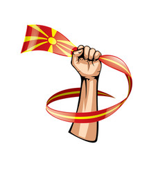 macedonia flag and hand on white background vector image