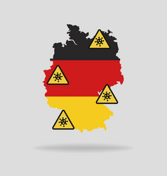 map with flag germany and pandemic stop vector image