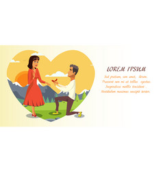 Marriage proposal wedding invitation layout vector
