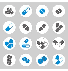 Medical pills icons set collection vector image