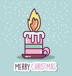 merry christmas celebration burning candle snow vector image