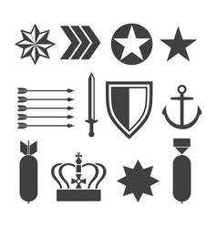 Military army elements collection isolated vector