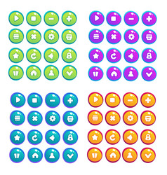 Mobile game ui collection of icons and buttons vector