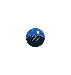 Night mountain and sky and moon on circle vector