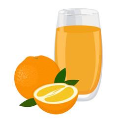 orange drink glass of orange juice and slices of vector image