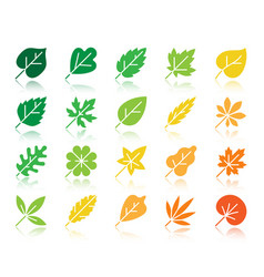 Organic leaf color silhouette icons set vector