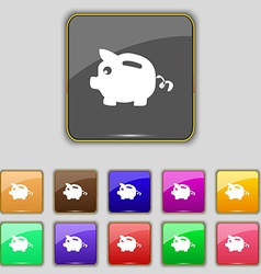 Piggy bank icon sign Set with eleven colored vector