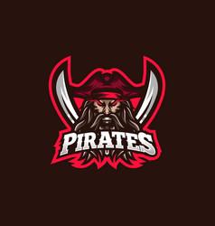 pirates esport gaming mascot logo template for vector image