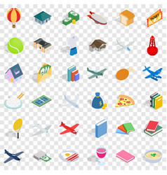 Plenty icons set isometric style vector