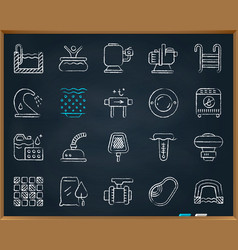 Pool equipment chalk draw line icons set vector