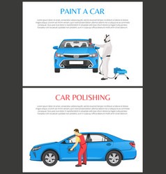 Poshing and paint a car color vector