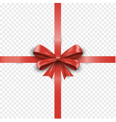 realistic red cross silk gift bow with ribbon vector image