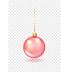 red christmas glass toys on a transparent vector image
