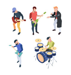 rock band isometric musician people vector image